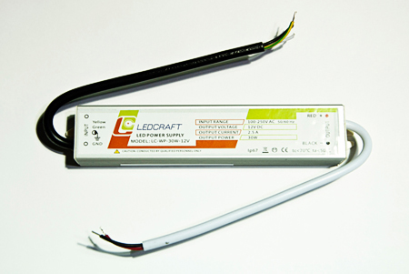 Блок питания для LED;LC-WP-30W-12V  IP67  2.5A р-р 181*30*20мм  18241
